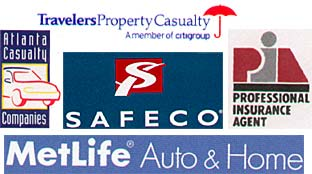 travelers property casualty - atlanta casualty companies - safeco - metlife auto and home - professional insurance agent logos